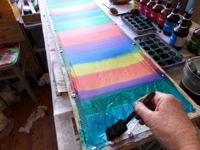 Painting the Silk With Steam Fix Dyes