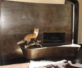 Curved concrete hearth  w/ or w/o fox on a log