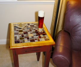 End Table with Glass Mosaic Tile Inlaid Top