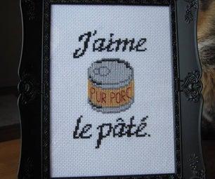 J'aime Le Pâté Cross Stich Embroidery + Pattern