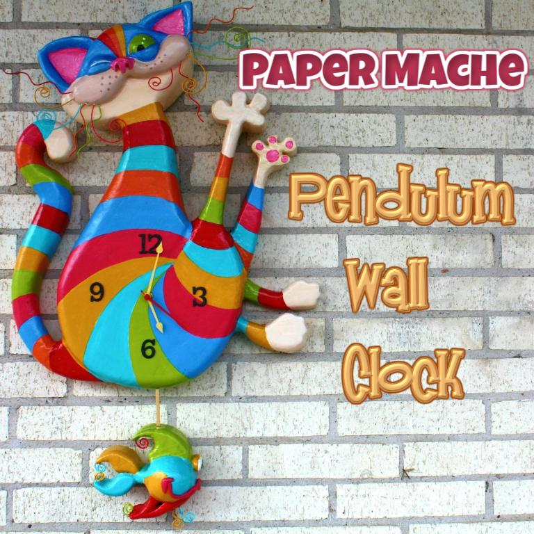 Picture of Paper Mache Clock With Pendulum