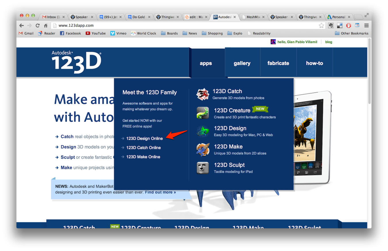 Picture of Using 123D Design Online