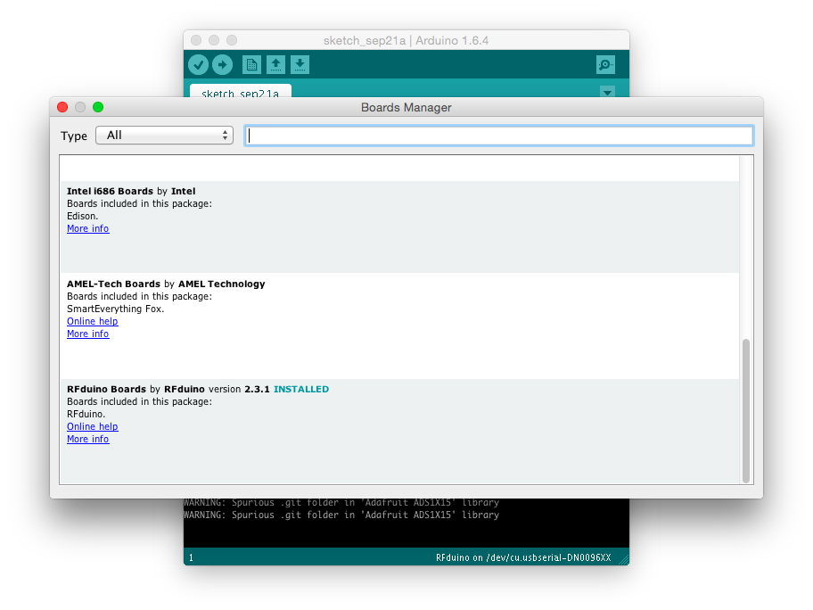 Picture of Configuring the RFduino in the Arduino IDE