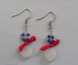 Easy Wire Snowman Earrings
