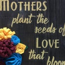 Wood Plank Sign With Felt Flowers