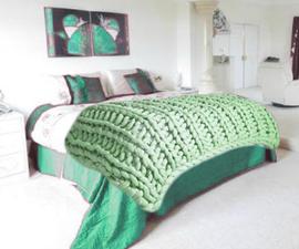 Arm Knitted Merino Wool Blanket