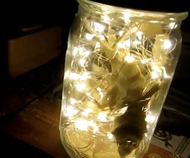 DIY Fairy Light Mason Jar w/Leaves