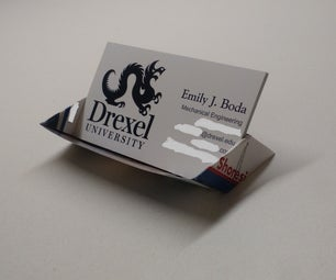 Business Card Display Stand Made of Office Supplies