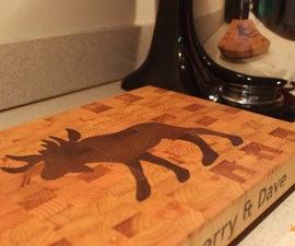 End Grain Cutting Board (with Hand Cut Inlay)