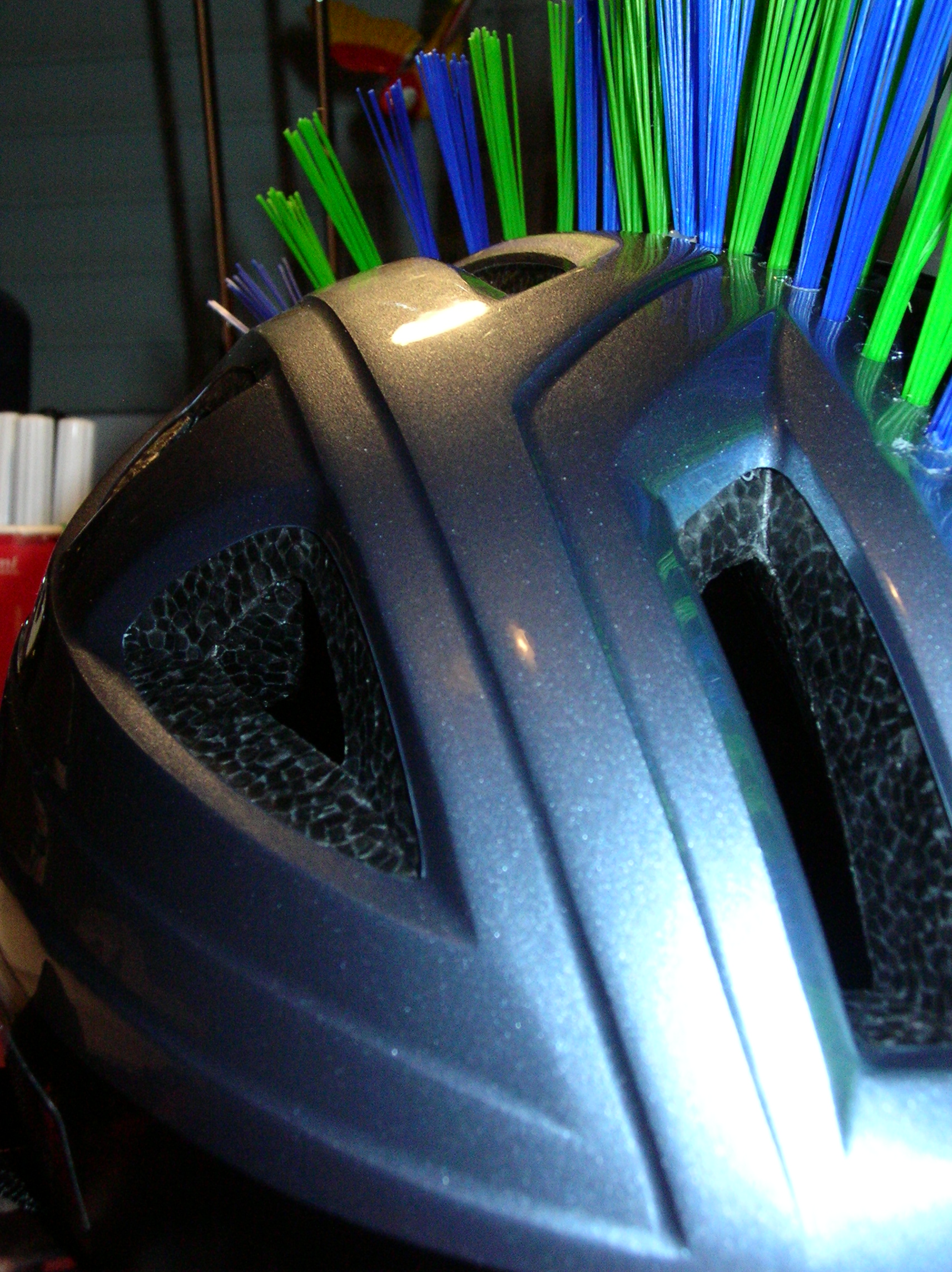 Picture of My Helmet Mohawk Made of a Scrubbing Brush