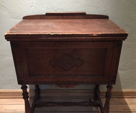 Bar Service Cart With Wine Glass Rack (from Vintage Sewing Stand)