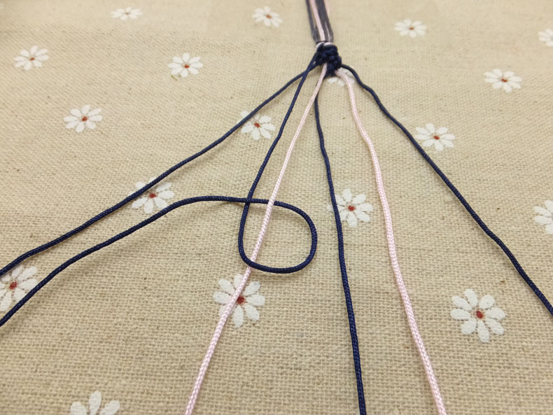Picture of Once You Have Knotted the Outer Left Cord to the One Next to It, Do the Same to the Next Cord Closer to the Middle.
