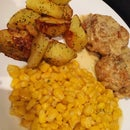 Chicken Thighs With Cream Sauce + Sides