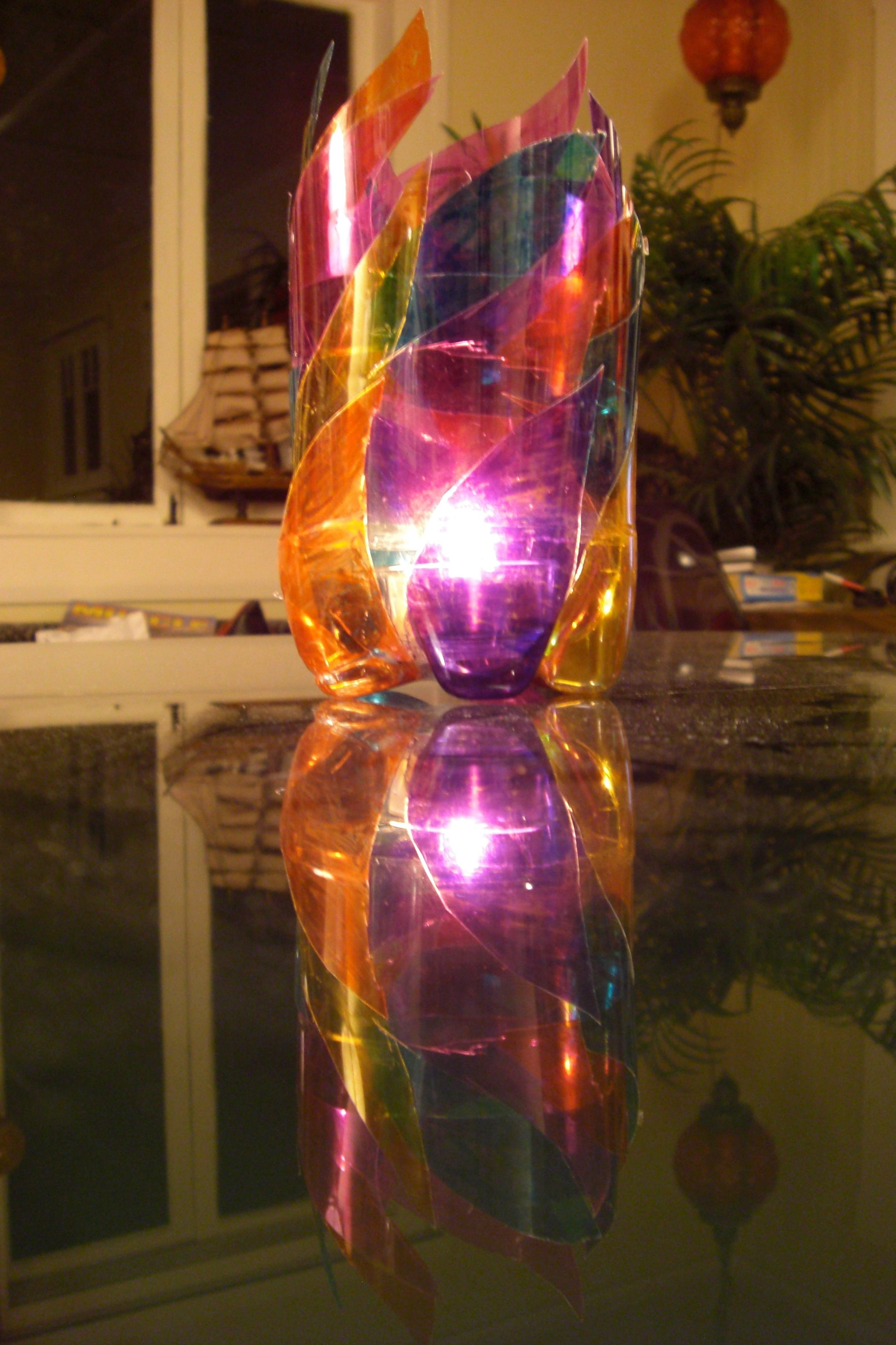 Plastic Bottle Quot Stained Glass Quot Candleholder 4 Steps With