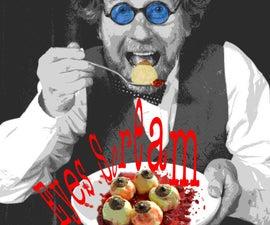 Eyes Ice Cream - Raw Rich Vanilla Eye Balls with Raspberry Red Sauce