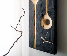 Sculptural Wall Clock | Shou-Sugi-Ban Technique