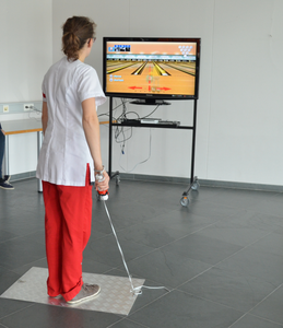 Wii Bowling Accessory in Use