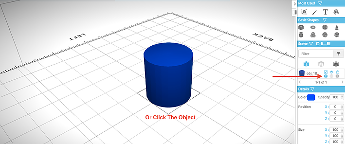Picture of Selecting the Object