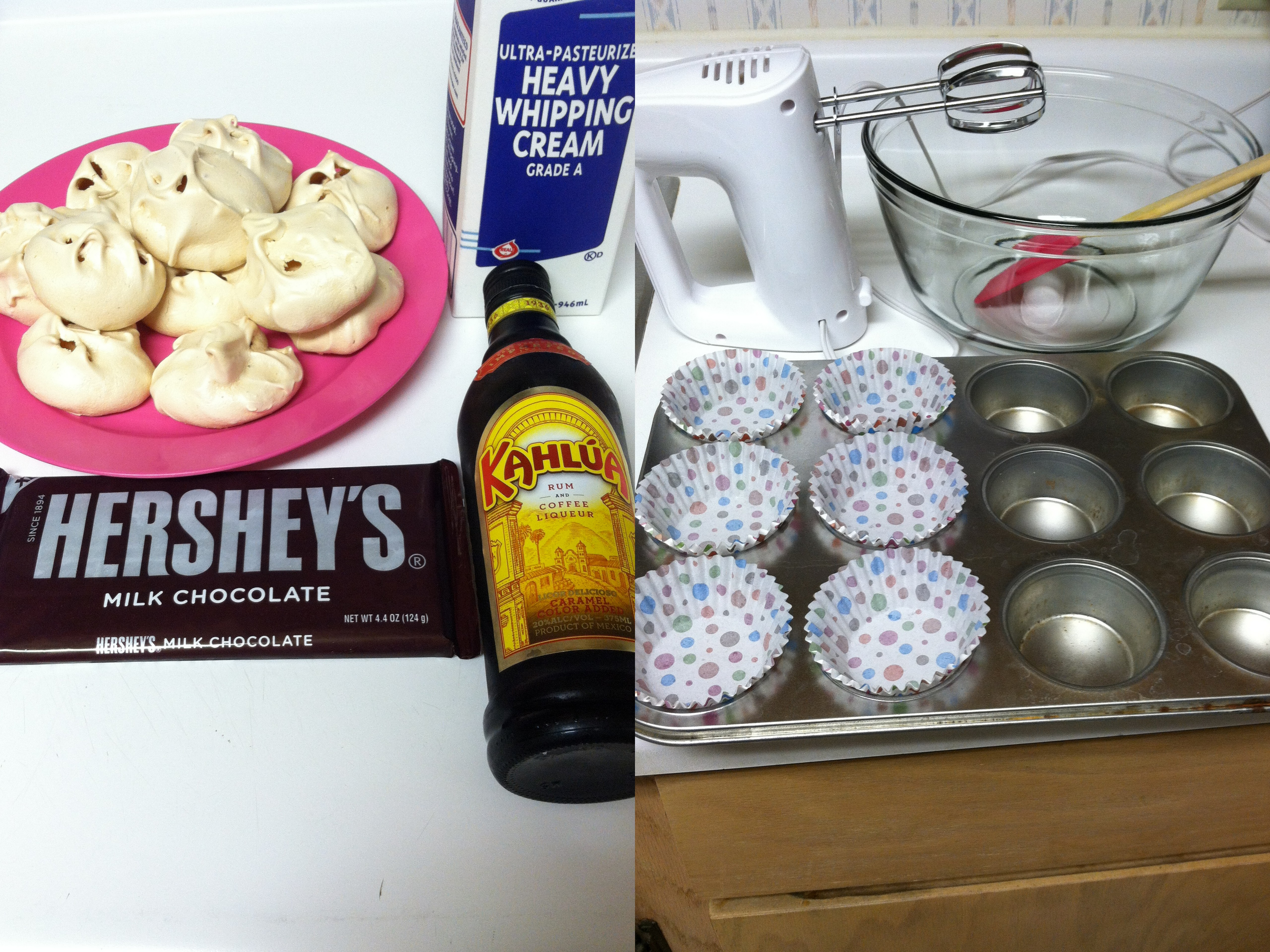 Picture of Ingredients and Materials Required to Prepare Meringue and Coffee Semifreddo