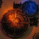 Steampunk clock with 2 RGB light wells