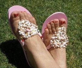 DIY Bead Embellished Flip Flops
