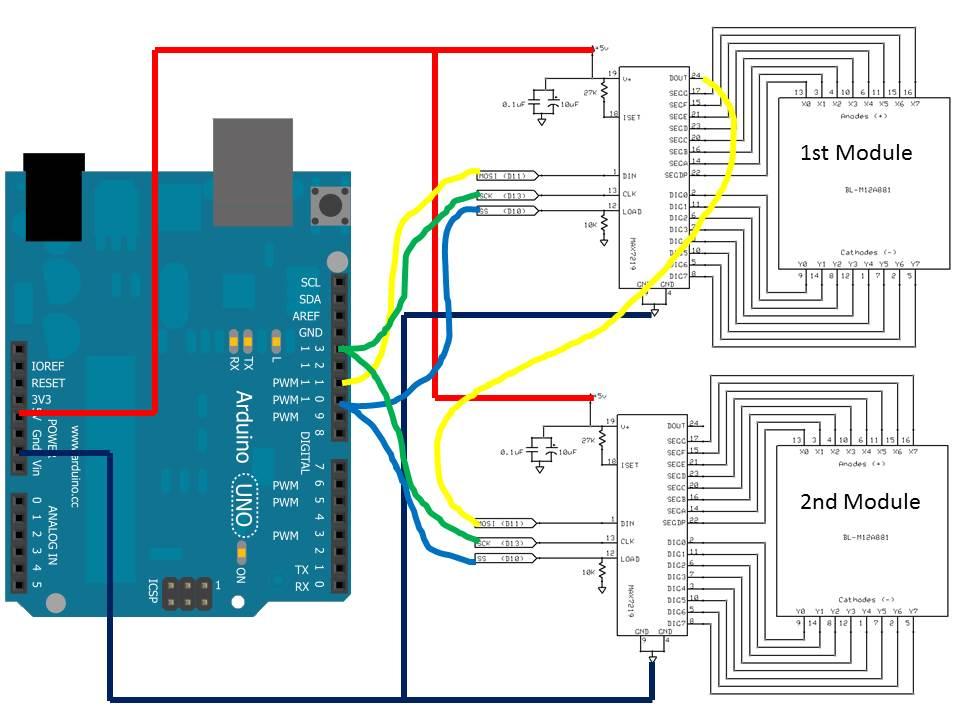 16x8 LED Dot Matrix With MAX7219 Module