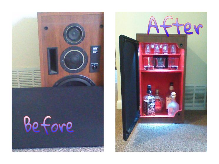 Picture of His Unused Speaker Into My Mini Liquor Cabinet