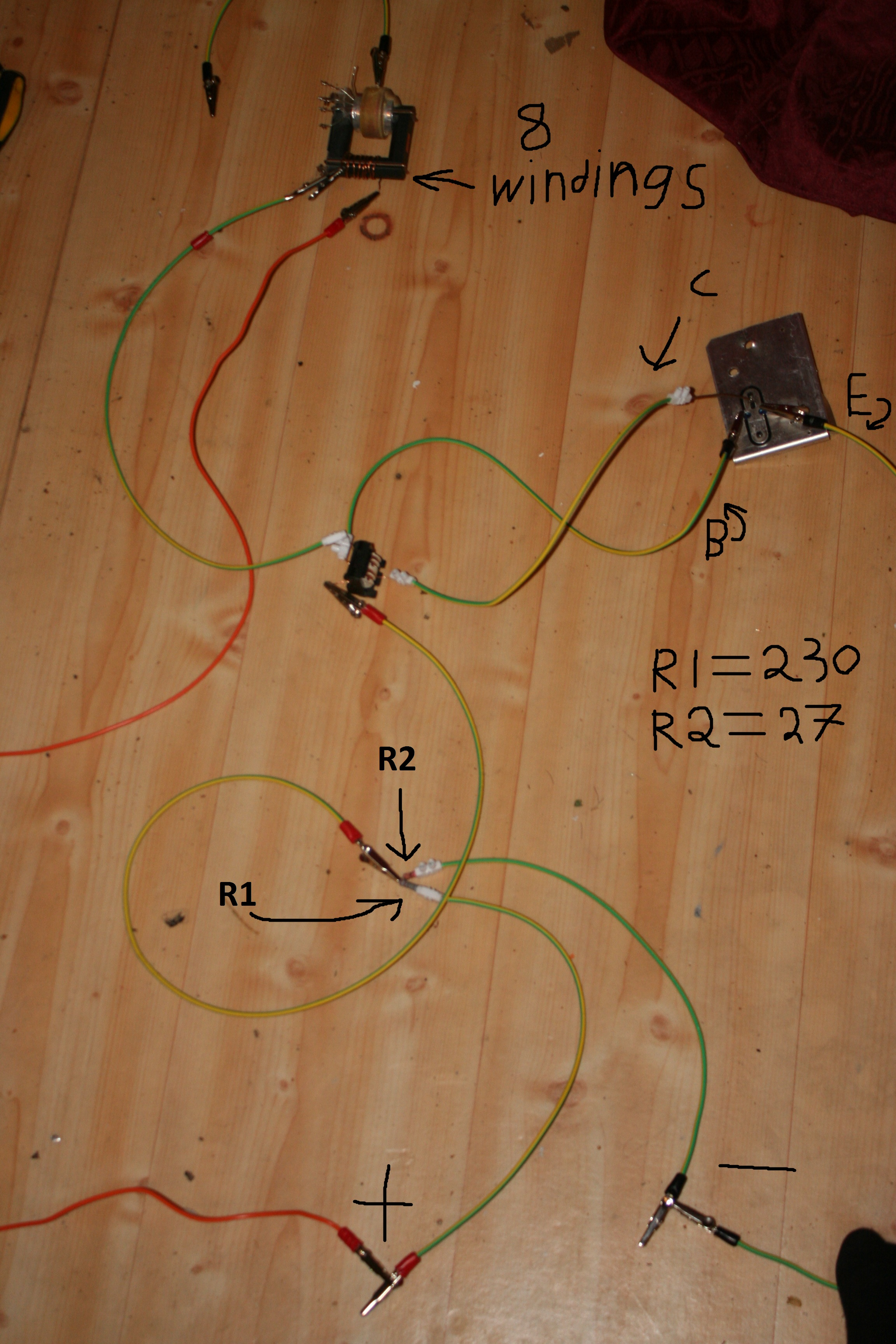 Picture of 2n3055 flyback transformer driver diagnosis. - Showing some sign of life