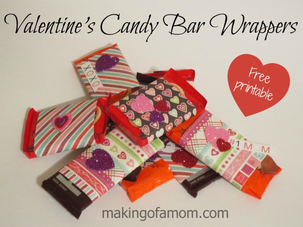Picture of Valentine's Candy Bar Wrappers