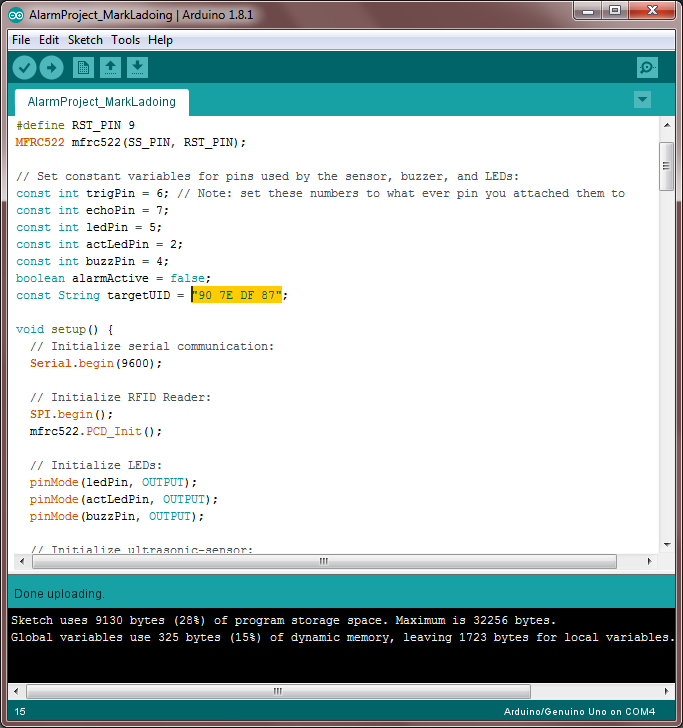 Picture of Add the Alarm's Code to the Arduino