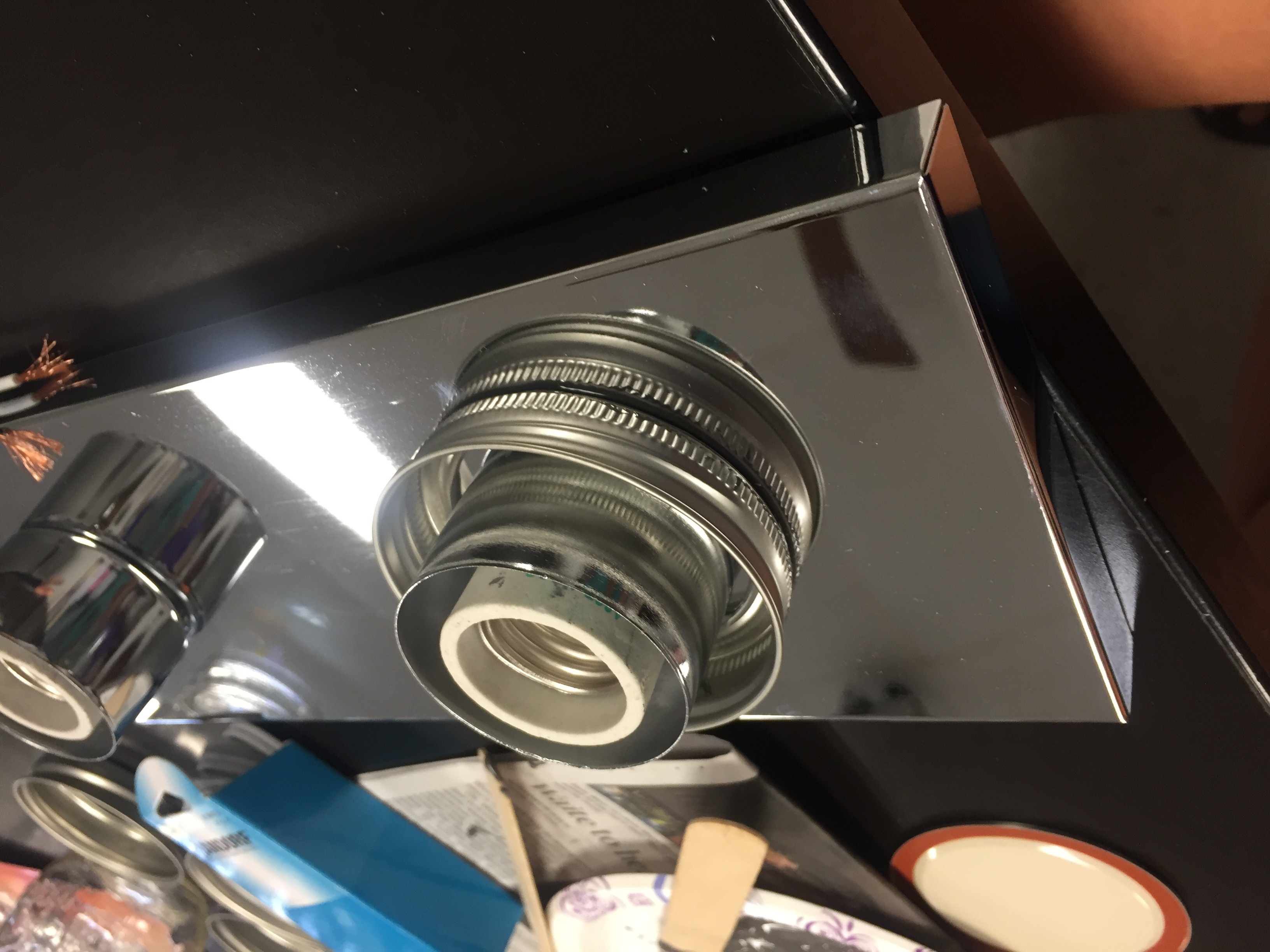 Picture of Attaching Jar Lids to Light Fixture