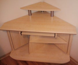 corner desk with a worn and old furniture