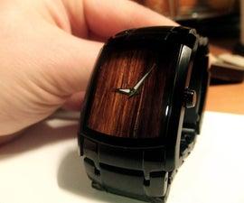 Wooden faced wristwatch