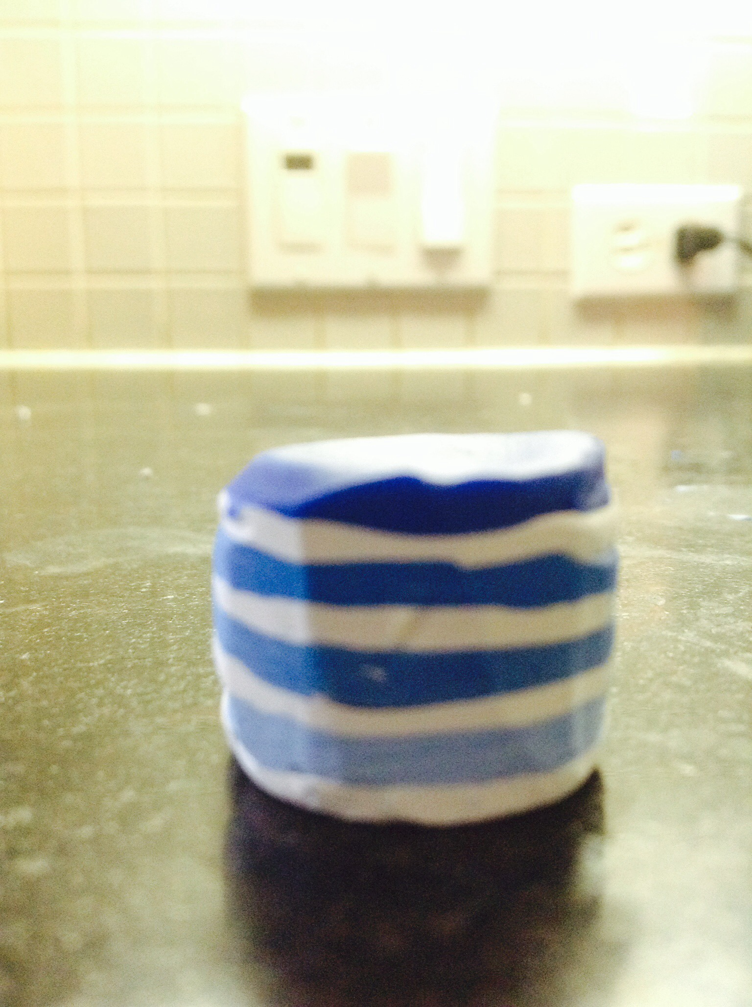 Picture of Take Your Clay and Stack the Blues Lightest to Darkest, and Put White Sheets in Between