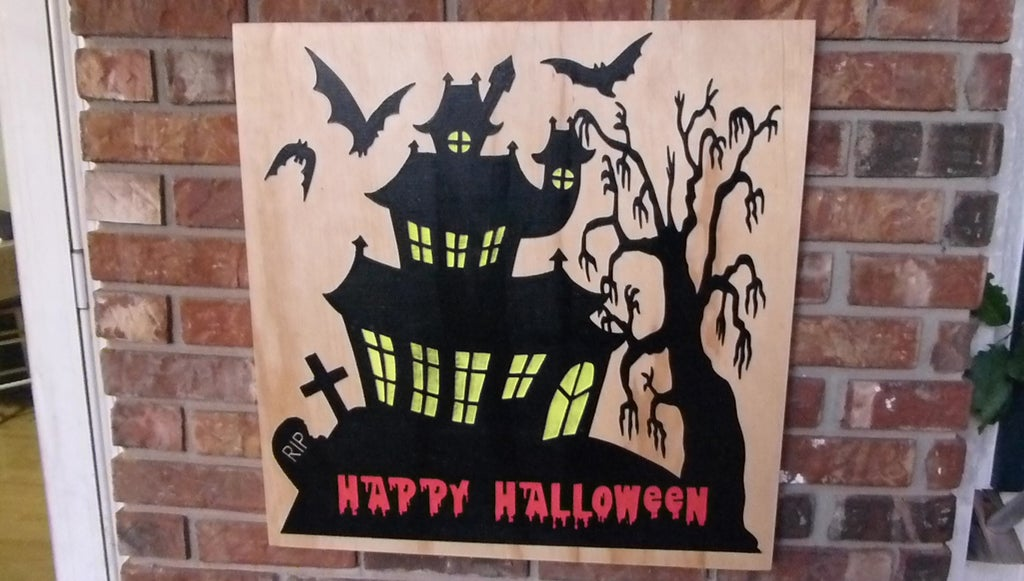 Halloween Spooky House Sign Free DXF File: 10 Steps (with