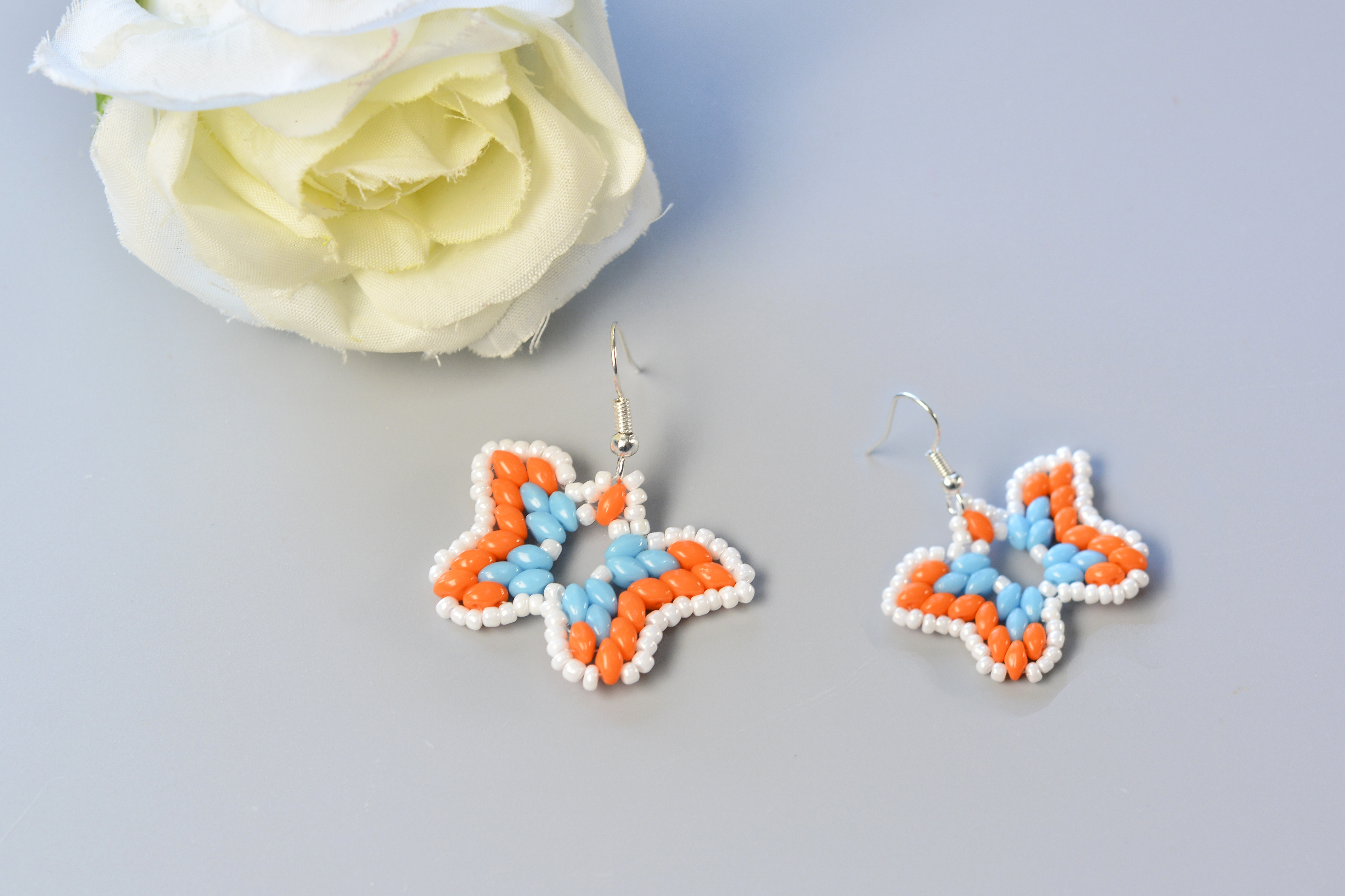 Picture of Here Is the Final Look of the 2-hole Seed Bead Butterfly Earrings.