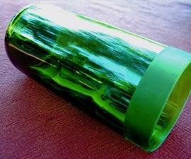 Faux Etched Glass Wine Bottle Vase/Votive Holder