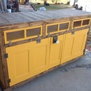 Antique Door TV Cabinet with secret sliding drawer and electric lock