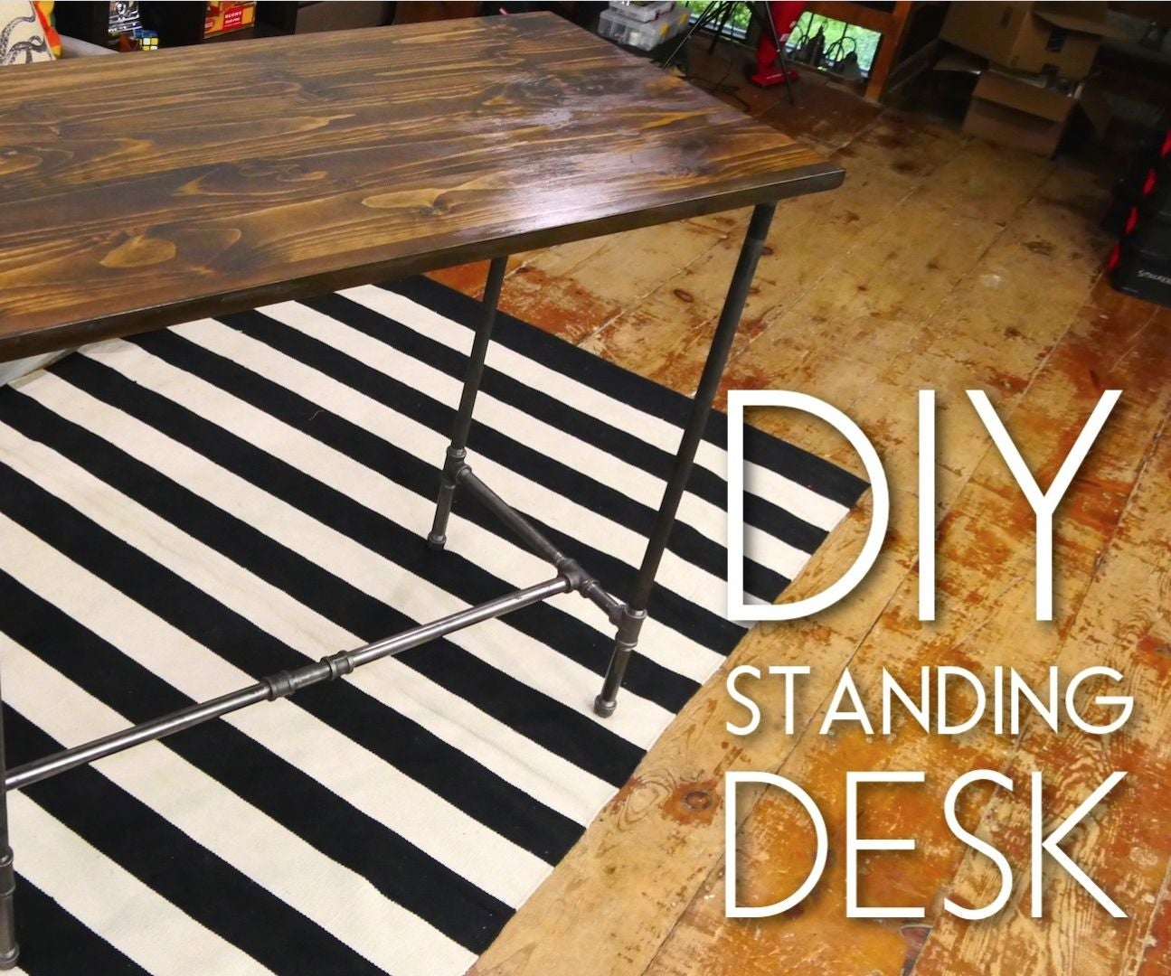 iron pipe standing desk 5 steps with pictures