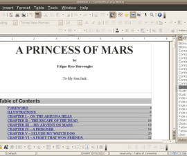 How to Create a Table Of Contents in OpenOffice/LibreOffice