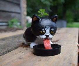 3D Print Cute Cat Self Watering Planter