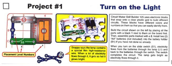 Building Circuits With Kids (Snap Circuit Method.  If You Don't Have a Snap Circuit Kit, Review Closed Circuit and Open Circuit and Continue On)