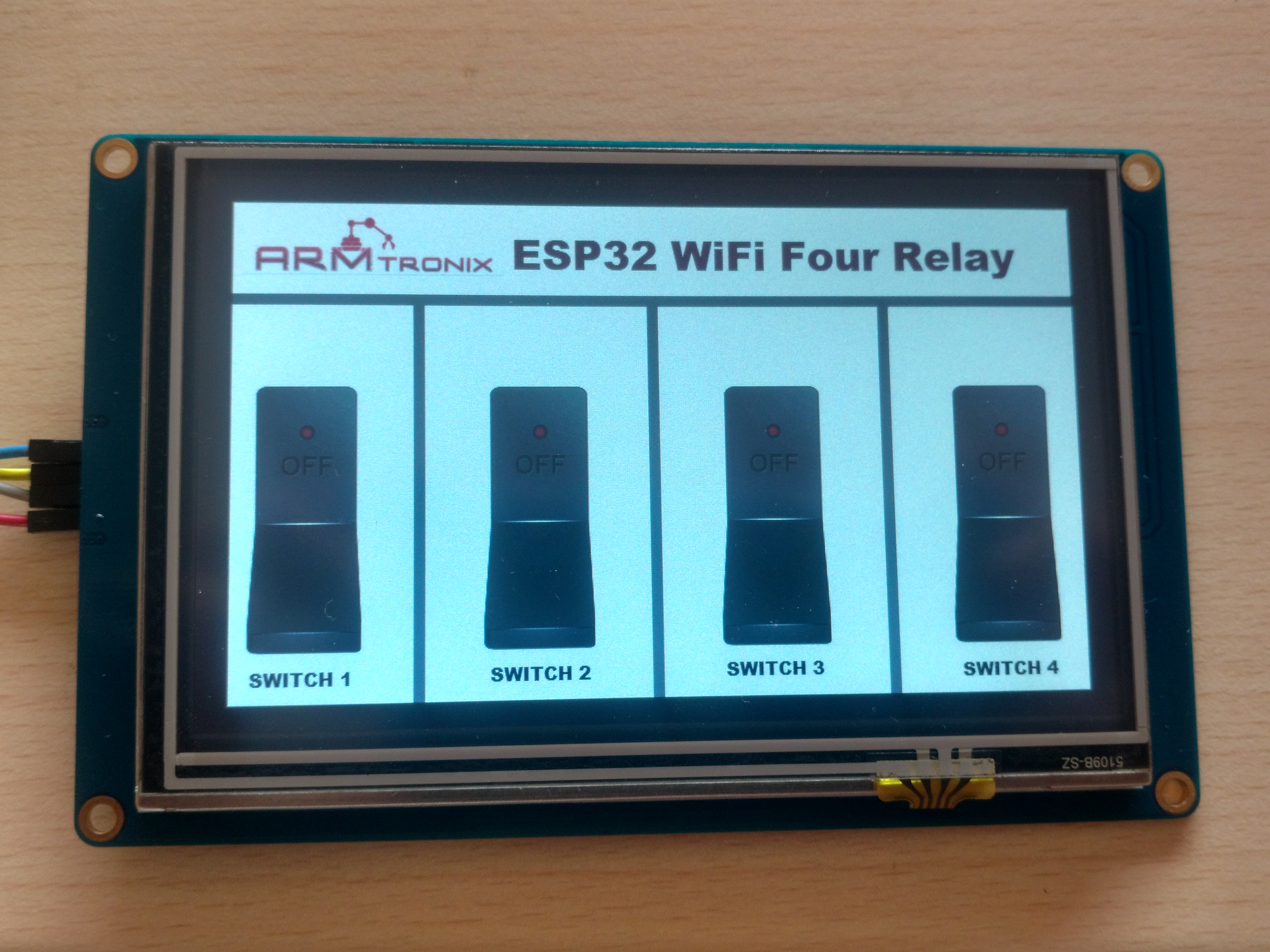 Picture of Nextion Display Interface With ESP 32 Four Relay Board