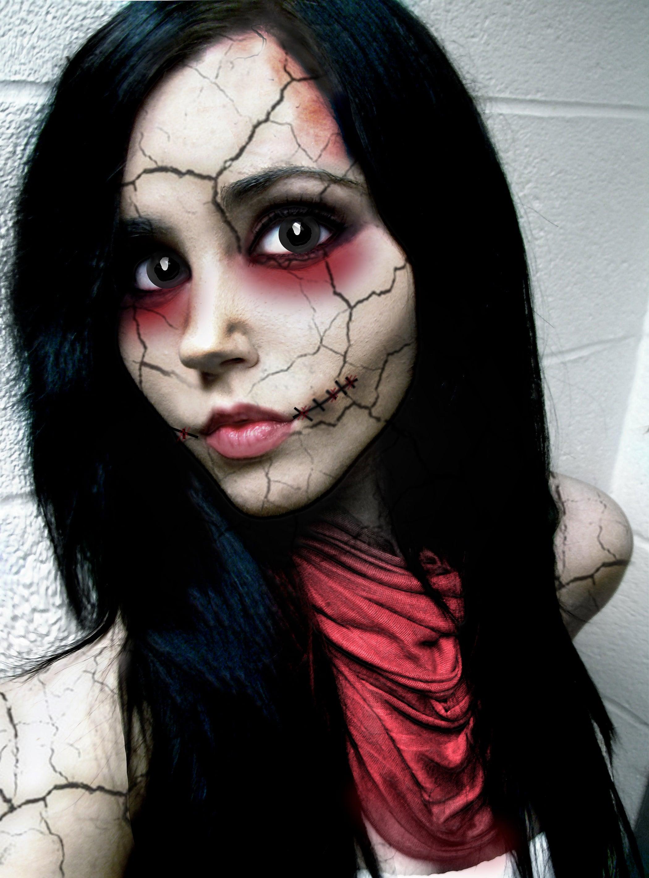 "doll face"" halloween photo tutorial: 3 steps"