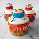 Cupcake Topped Rainbow Cupcakes