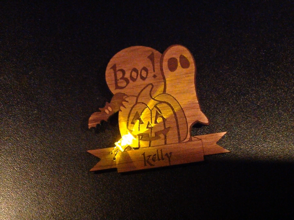 Made at Techshop - Flickering LED Laser-Cut Halloween Badge