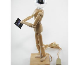 Wood Manikin Figure Lamp with iPad - A DIY tutorial