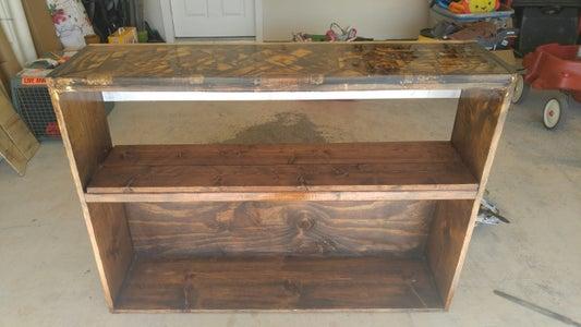 Bookshelf W/ Pebble, Wood & Resin Top