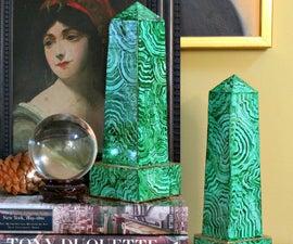 Faux Malachite Obelisks