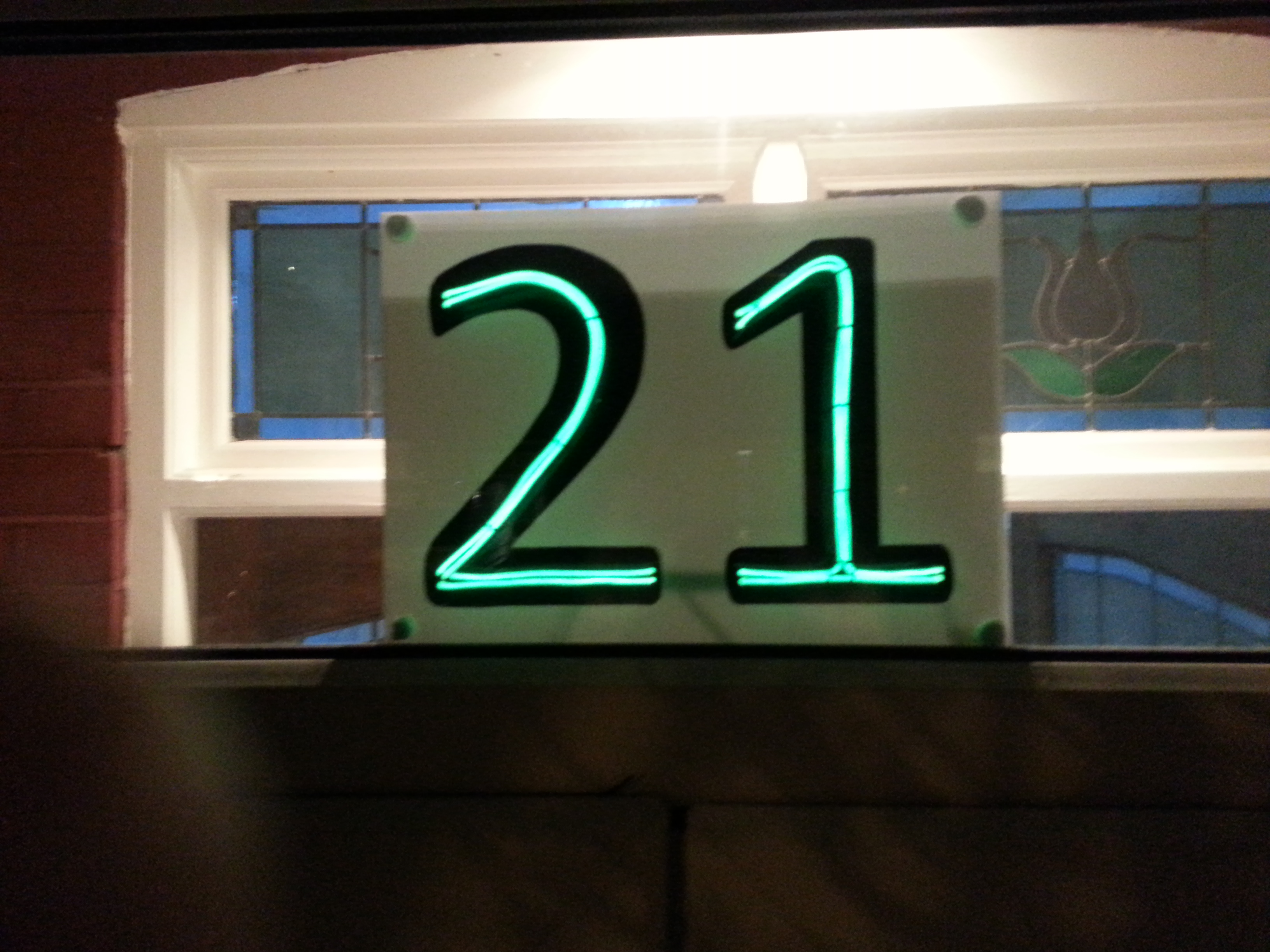 Picture of House Number in Lights.